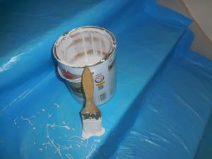 Escalier bien protégé pour travaux de peinture