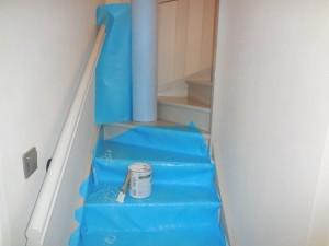 Protection contre la peinture pour escalier - travaux chantier