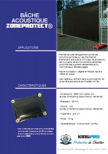 Bâche acoustique ZONEPROTECT - KINGPRO