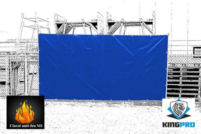 Bâche spéciale clôture mobile de chantier KINGPRO - classée anti-feu M1