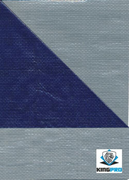 Bâches ultra-lourde 200gm² bicolore grise et bleue - anti-UV - KINGPRO - 4mx6m 6mx8m 8mx10m 10mx12m
