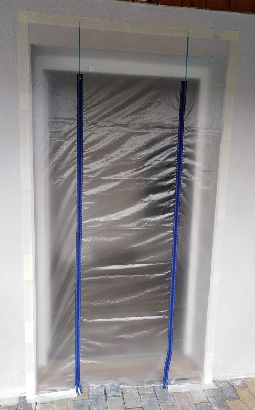 Porte Zip en II 93cm de large avec Film PE 1.50m x 2.50m ZONPROTECT ouverture porte chantier