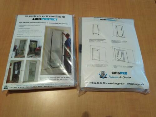 Porte Zip en U avec film PE - 2.10m x 1.10m ZONEPROTECT - Packaging