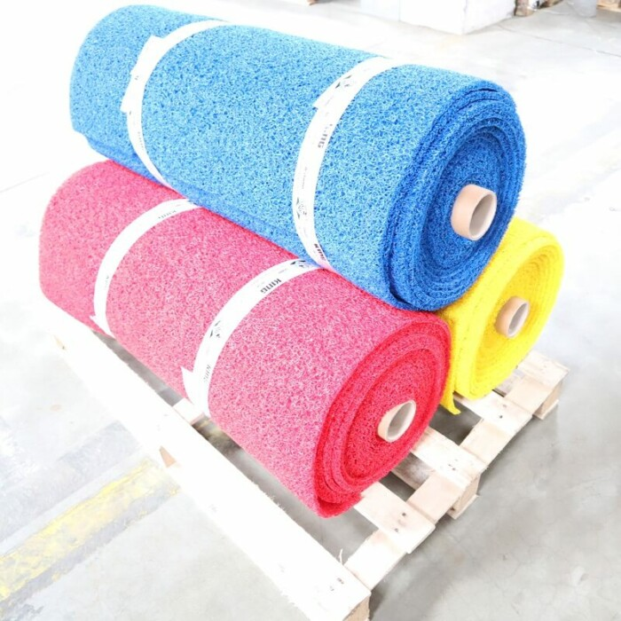 Tapis antidérapant de chantier - couleur Bleu jaune rouge - 1m x 10m - circulation piéton