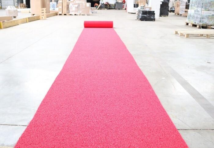 Tapis antidérapant de chantier - couleur rouge - 1m x 10m - circulation piéton